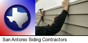 San Antonio, Texas - installing vinyl siding on a house