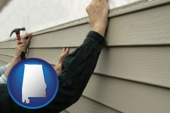 alabama installing vinyl siding on a house