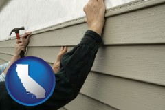 california map icon and installing vinyl siding on a house