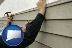 connecticut map icon and installing vinyl siding on a house