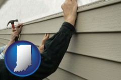 indiana map icon and installing vinyl siding on a house