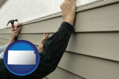 kansas map icon and installing vinyl siding on a house