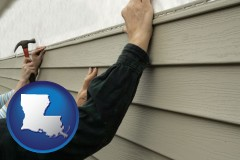 louisiana map icon and installing vinyl siding on a house