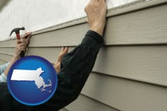 massachusetts map icon and installing vinyl siding on a house