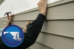 maryland map icon and installing vinyl siding on a house