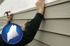 maine map icon and installing vinyl siding on a house