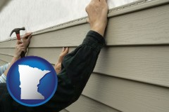 minnesota map icon and installing vinyl siding on a house