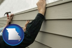 missouri map icon and installing vinyl siding on a house