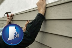 rhode-island map icon and installing vinyl siding on a house