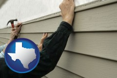 texas map icon and installing vinyl siding on a house