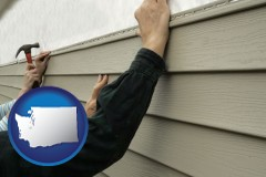 washington map icon and installing vinyl siding on a house