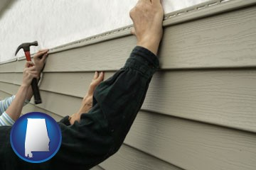 installing vinyl siding on a house - with Alabama icon