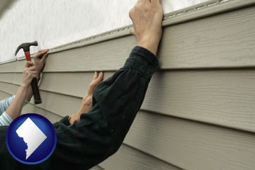 installing vinyl siding on a house - with Washington, DC icon