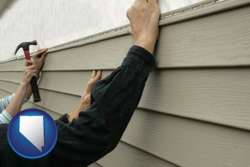 installing vinyl siding on a house - with Nevada icon