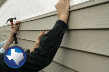 installing vinyl siding on a house - with Texas icon