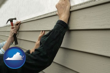 installing vinyl siding on a house - with Virginia icon